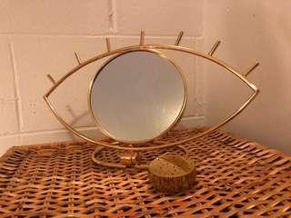 Gold Makeup Mirror and Trinket Box