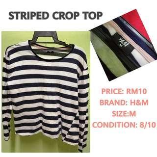 Stripe Shirt Crop Top