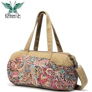 🚚 Shoulder bag female 2019 new casual personality large capacity national wind canvas bag wild diagonal bag