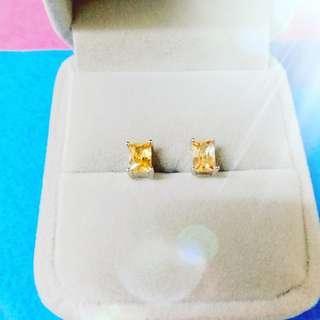純銀黃鋯石耳環