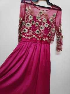 lace sateen maxi dress