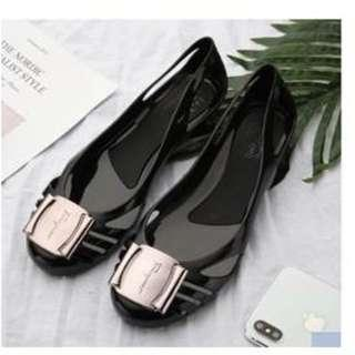 brand new metal buckle crystal jelly shoes sandals
