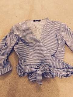 Zara blue & white stripe cross over top