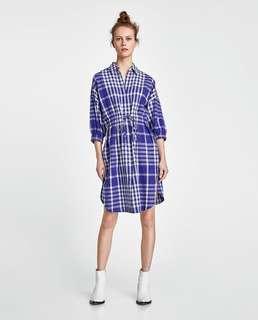 Zara Blue Checkered Dress/ Long Blouse