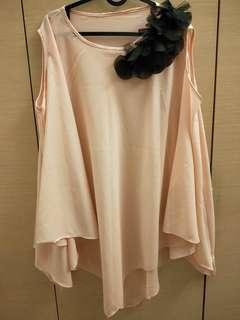 🚚 粉橘花朵雪紡衣