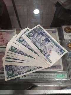 Singapore Ship $1 Dollar Z/1 29 run UNC