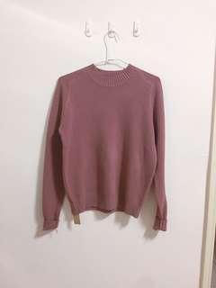 🚚 乾燥玫瑰色/藕粉色/粉紫色 親膚針織上衣/針織毛衣 全新 正反兩穿