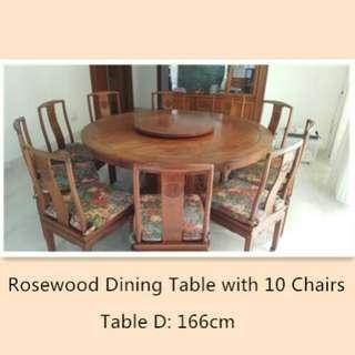 Rosewood Dining table with 10 chairs