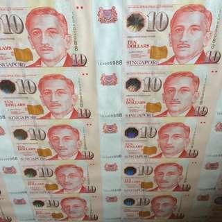 LHL Portrait $10 Uncut 45 Sheet 100 Only Rare