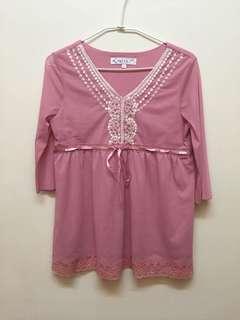 🚚 粉紅色雪紡上衣ML可