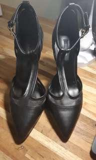 ZALORA T BAR HEELS BLACK 9-10 CM