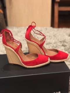 d8a97e74564e Aquazzura Karlie Espadrille Wedge Sandals in Crimson Red - EUR 37.5   UK 4.5