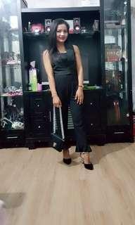 1 set baju crop hitam nm& pant ruffle