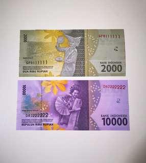Indonesia Solid Number Banknote 111111 & 222222