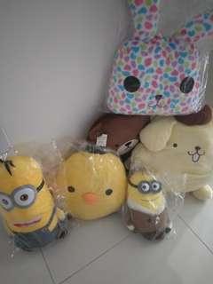 Soft Toys - minion, rabit, tom bear, pompompurin