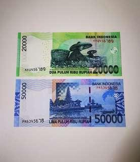 Indonesia Ascending Ladder Number Banknote 345678 & 456789