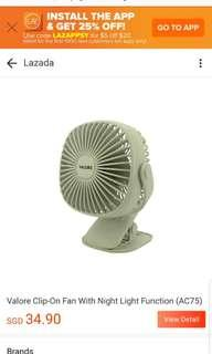Valore clip on fan with night light function