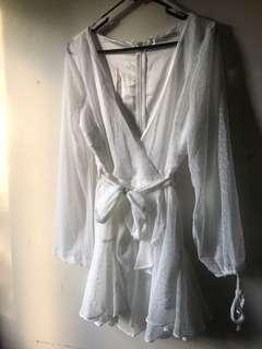 WFB WHITE LONG SLEEVE DRESS