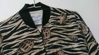 動物紋貝殼圖絲質外套