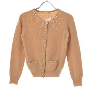 🚚 【relacher】米色系珍珠綴飾排釦開襟安哥拉羊毛針織衫罩衫小外套