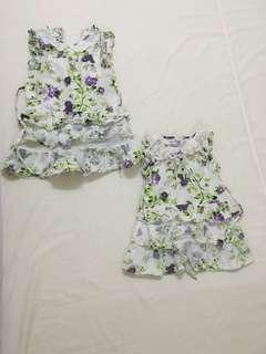Cotton Dress with Purple Flower