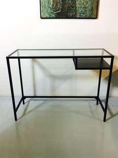 Working desk with glass table top