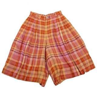 🚚 【TSUMORI CHISATO】日本製 津森千里溫暖橙色系人造絲格紋五分寬褲褲裙