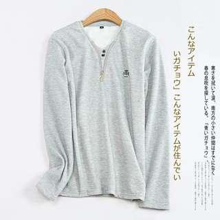 時尚純色加絨V領拉鏈裝飾長袖上衣 灰色XL
