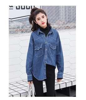 🚚 降價藍色單寧拼接乾燥玫瑰色兩件套韓版寬鬆上衣