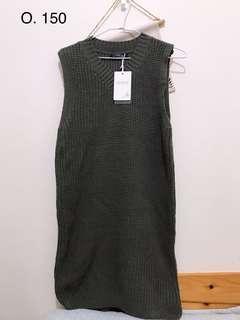 灰針織背心裙
