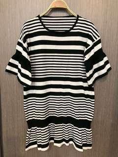 🚚 降價出清全新深墨綠條紋針織長版上衣