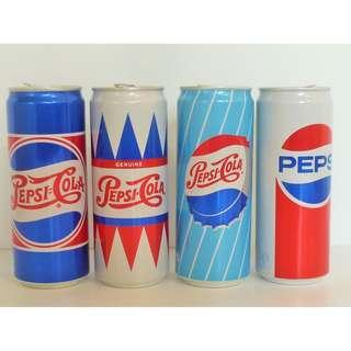 Singapore Limited Edition Pepsi Cola Retro Cans Complete Set of 4 , 1940s-1980s
