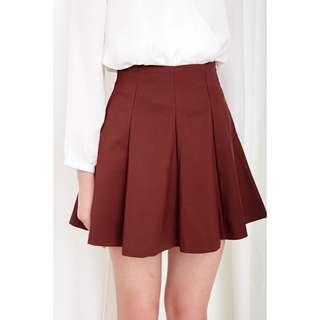 FashMob Emi Swing Skirt in Brick Red