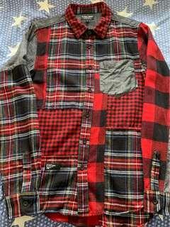 全新 izzue army 格仔併布長袖裇衫 (New patchwork long sleeves shirt)