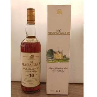 請出價 MACALLAN 麥卡倫10 Years Single Highland Malt Scotch Whisky 700ml Sherry Oak 綠莊園版