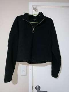 Crop half zip sweatshirt