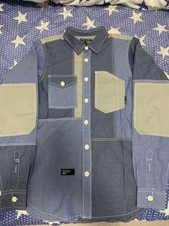 全新 izzue Army 藍色併布長袖裇衫 (New blue patchwork shirt)