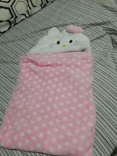 Pink Polka Dot Hello Kitty Baby Hooded Character Blanket