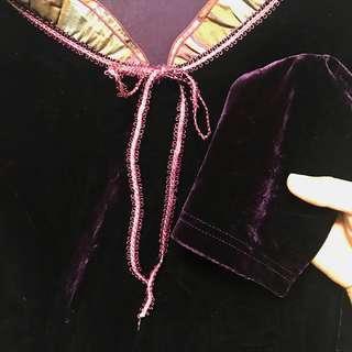 Velvet Suede Top Dark Purple