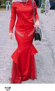 Baju kurung / kebaya with net skirt (maroon colour)
