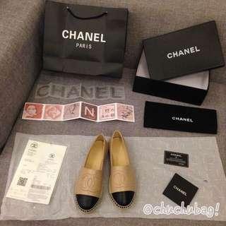 實拍 Chanel (杏色)羊皮草編鞋