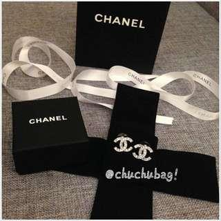 Chanel 經典鑲鑽 方鑽 雙C 大C 耳針 耳環