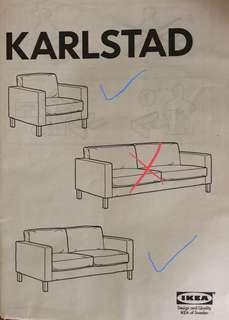IKEA KARLSTAD 'White' SOFA COVER