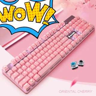 SADES K10 V2 Pink Mechanical Blue Switches Gaming Keyboard