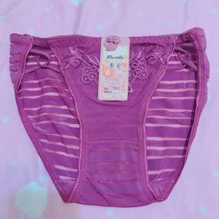🚚 深紫色條紋蕾絲三角內褲