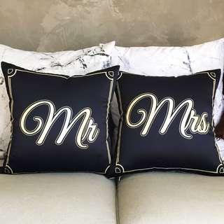 Personalize / customise Couple Cushion Cover Set (MR & MRS)