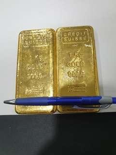 Credit Suisse fine gold Kilobars (999.9 purity)