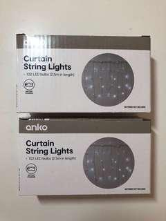 Curtain String Lights x2 (batteries not included)