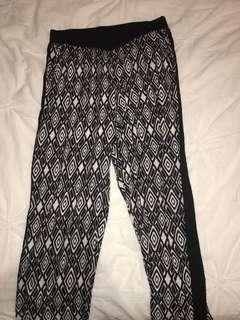 patterned black & white pants