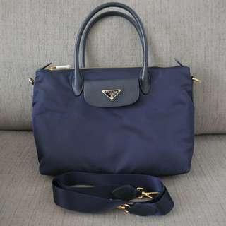 53f717483d Authentic Prada Tessuto Saffiano Nylon 2Way Bag 1BA106 Bleu Blue